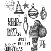 Stampers Anonymous/Tim Holtz - Cling Mount Stamp Set - Festive Sketch - CMS283